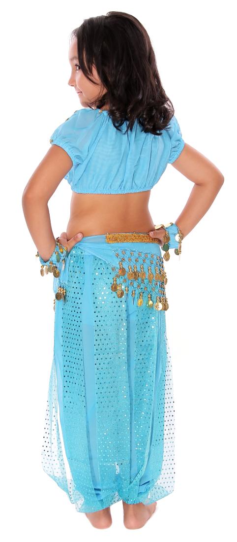 6-Piece Girls Arabian Princess Genie Costume in Jasmine Blue Genie Girl Costume
