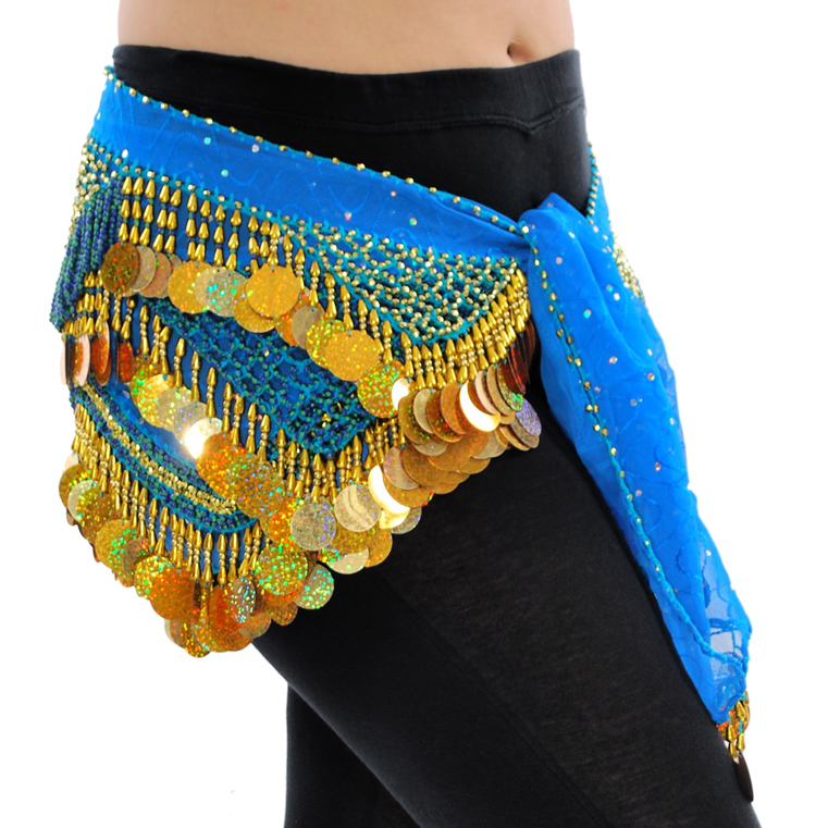 beaded paillette hipscarf in azure blue and gold