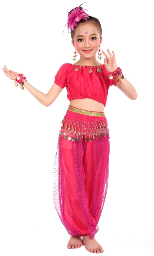 5-Piece Girls Arabian Princess Genie Costume in Dark Pink ... Genie Girl Costume