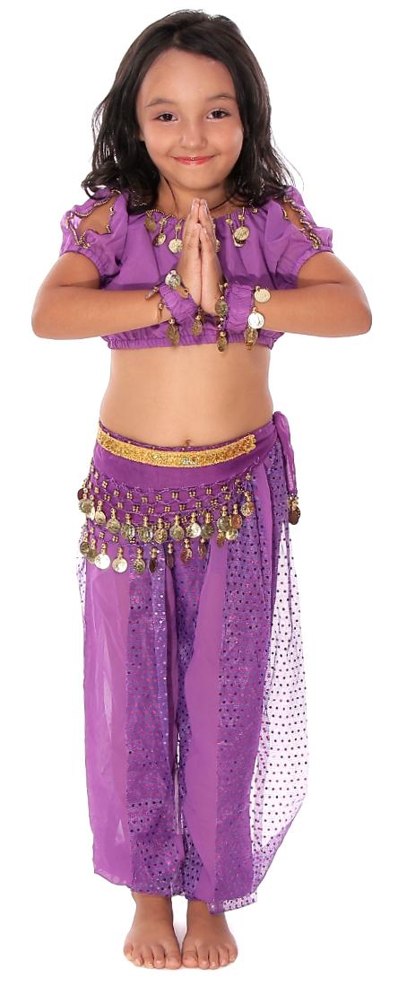5piece girls arabian princess genie costume in purple