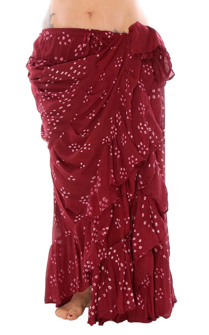 15 Yard Jaipur Print Tribal Skirt In Burgundy At