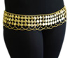 3-Row Lightweight Belly Dance Coin Belt with Chain Swags - GOLD