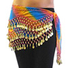 Chiffon Belly Dance Hip Scarf with Beads & Coins - RAINBOW BLUE / GOLD
