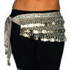 Velvet Belly Dance Hip Scarf Belt with Coins - SILVERY GREY / SILVER