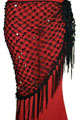 Crochet Net Shawl Scarf with Square Sequins & Fringe - BLACK