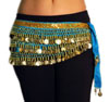 Velvet Belly Dance Hip Scarf Belt with Coins - TURQUOISE / GOLD
