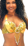 Beaded Satin Belly Dance Bra Top with Sequin Butterfly Design - GOLD