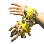 Chiffon Stretch Bracelets with Beads & Coins (PAIR): YELLOW / GOLD