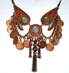 Classic Belly Dance Tribal Coin Necklace with Chain Tassels & Mirrors - COPPER