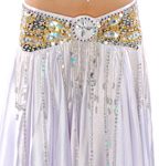Beaded Satin Belly Dance Belt with Sequin Butterfly Design & Fringe - WHITE