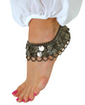 2-Row Black Coin Anklet with Chain Swags - HEMATITE