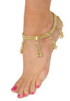 2-Row Chain Anklet with Bell Dangles - GOLD