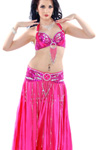 Beaded Satin Belly Dance Costume with Sequin Butterfly Design - FUCHSIA