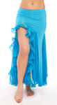 Egyptian Style Belly Dance Skirt with Ruffle Side Slit - BLUE TURQUOISE - size S/M