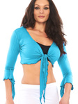 Criss-Cross Choli Top with Handkerchief Sleeves - LT. BLUE TURQUOISE