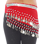 Toddler Size DELUXE Belly Dance Coin Hip Scarf - APPLE / SILVER