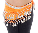 Toddler Size DELUXE Belly Dance Coin Hip Scarf - ORANGE / SILVER