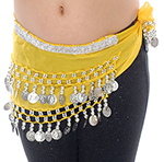 Toddler Size DELUXE Belly Dance Coin Hip Scarf - LEMON / SILVER