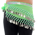 Toddler Size DELUXE Belly Dance Coin Hip Scarf - LIME / SILVER