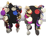 Chiffon Stretch Bracelets with Coins Multi-Colored Paillettes (PAIR): SILVER