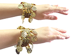 Sequin Stretch Bracelets with Coins (PAIR) - GOLD