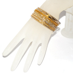 Small Size Diamond Cut Glitter Bangle Set - GOLD