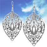 Filigree Leaf Dangle Earrings - ANTIQUE SILVER