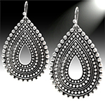 Studded Filigree Teardrop Dangle Earrings - SILVER