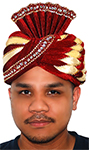 Bejeweled Royal Sultan's Turban - BURGUNDY