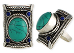 Large Silver Tribal Belly Dance Jewelry Ring With Braided Accents - TURQUOISE / LAPIS