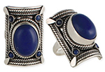Large Silver Tribal Belly Dance Costume Jewelry Ring With Braided Accents - LAPIS
