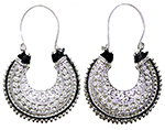 Ornate Filigree Earrings With Threaded Accent - SILVER