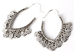 Antique Tribal Coin Dangle Earrings - ANTIQUE SILVER