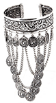Antique Ornate Upper Armband with Coins and Chains - SILVER