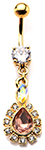 Elegant Topaz & Rhinestone Teardrop Barbell Belly Ring
