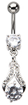Crystal Ice Teardrop Rhinestone Dangle Belly Ring