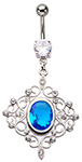 Aquamarine Floral Vine Belly Ring