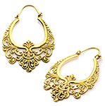 Ornate Arabesque Filigree Earrings - CASTED BRASS