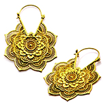 Ornate Floral Mandala Earrings - CASTED BRASS