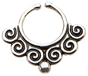 Silver Multi Swirl Tribal Style Faux Septum Nose Ring - SHIVA