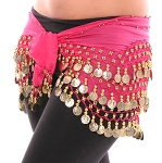Chiffon Belly Dance Hip Scarf with Beads & Coins - ROSE PINK / GOLD