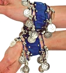 Chiffon Stretch Bracelets with Beads & Coins (PAIR): BLUE / SILVER