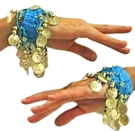Chiffon Stretch Bracelets with Beads & Coins (PAIR): BLUE TURQUOISE / GOLD
