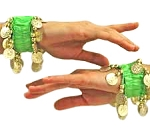 Chiffon Stretch Bracelets with Beads & Coins (PAIR): LIME GREEN / GOLD