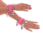 Chiffon Stretch Bracelets with Beads & Coins (PAIR): PINK / SILVER