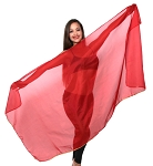 Petite Chiffon Belly Dance Veil with Sequin Trim - RED / GOLD