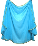 Petite Semi-Circle Chiffon Belly Dance Veil with Sequin Trim - TURQUOISE / GOLD