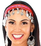 Sequin Belly Dance Costume Headband with Coins - RED / SILVER