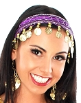 Sequin Belly Dance Costume Headband with Coins - PURPLE / GOLD