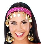 Sequin Belly Dance Costume Headband with Coins - FUCHSIA / GOLD